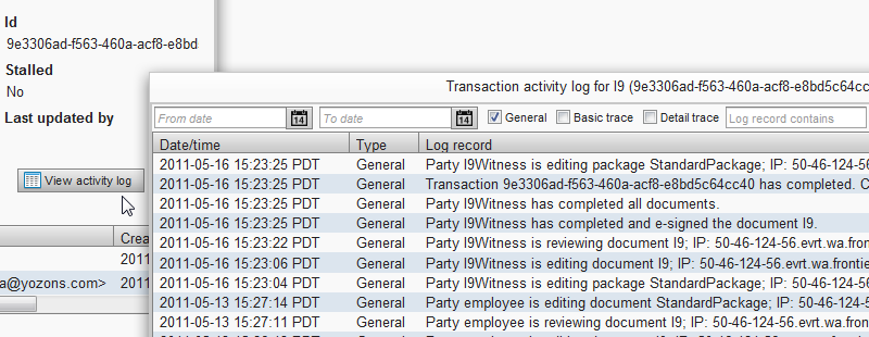 various transaction traces